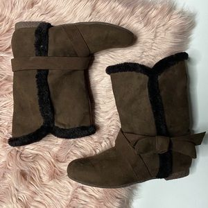 Mojo Moxy Boots Faux Fur Lining Brown Size 7